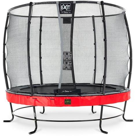 EXIT Elegant Premium Trampolin ø253cm mit Deluxe Sicherheitsnetz - rot