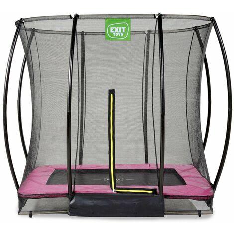 EXIT Silhouette Bodentrampolin 153x214cm mit Sicherheitsnetz - rosa