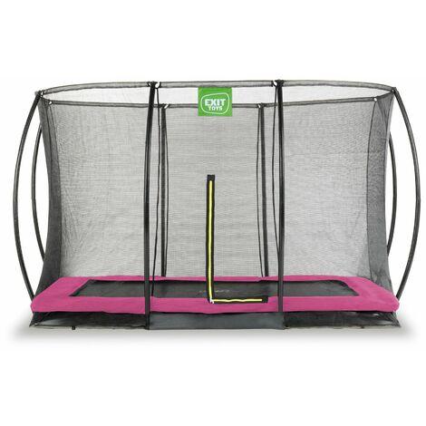 EXIT Silhouette Bodentrampolin 214x305cm mit Sicherheitsnetz - rosa