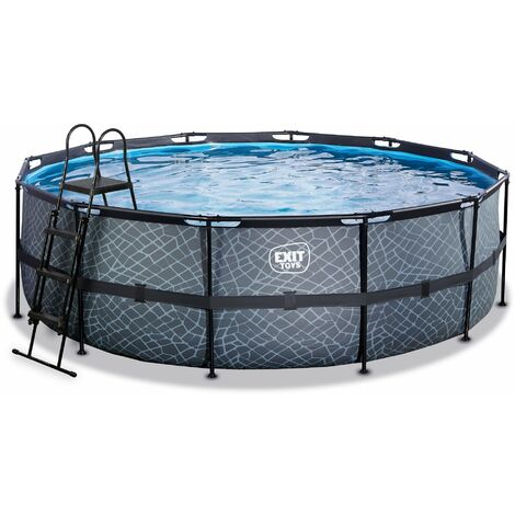 EXIT Stone Pool ø450x122cm mit Filterpumpe - grau