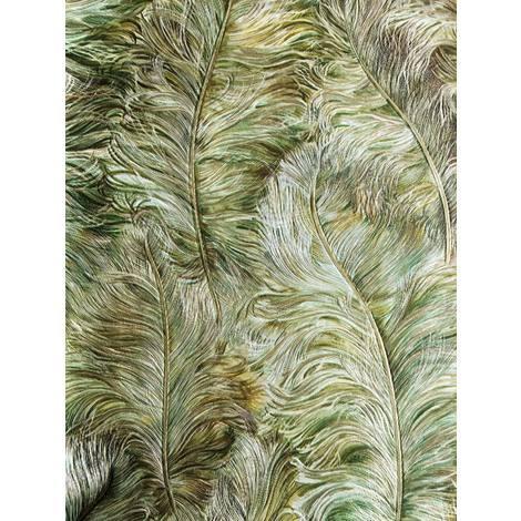 Exklusive Luxus Tapete 822203 Vinyltapete geprägt mit Federn glänzend grün laub-grün gold braun-grün 5,33 m2