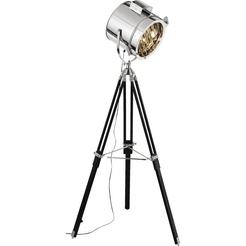 Exklusive Stehleuchte im Industrie Design, Stativ mit Holzbeinen, H 175 cm, Ø Schirm 45 cm, 1x E27 max. 60W, Metall / Glas, schwarz /