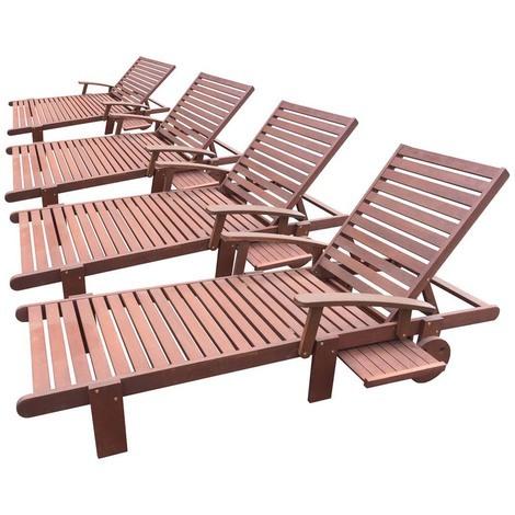 Exotic Wooden Folding Sun Lounger Tokyo Mohogany Acajou Brown Set Of 4