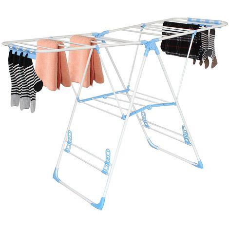 Expandable Airer, Foldable Laundry Rack, White/Blue, Unfolded size (Laundry rack): 138 x 90.5 x 51 cm (54.3 x 35.6 x 20 inch)