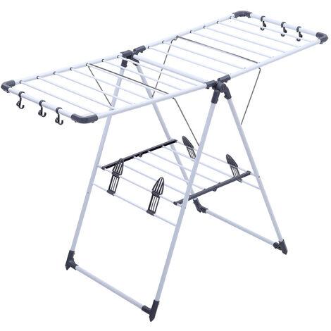 Expandable Airer, Foldable Laundry Rack, White, Unfolded size (Laundry rack): 140 x 96 x 60 cm