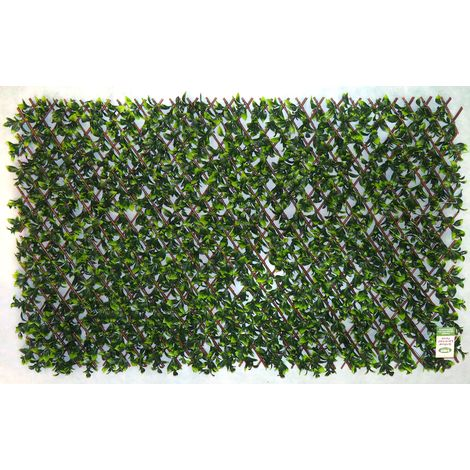 Expanding Trellis Screen Area Fence with Artificial Green Laurel Leaves 1m x 2m