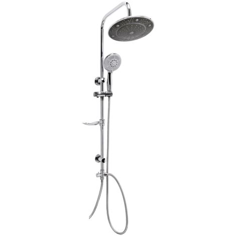 Exposed bathroom mixer shower rain pole valve tap multifunction set