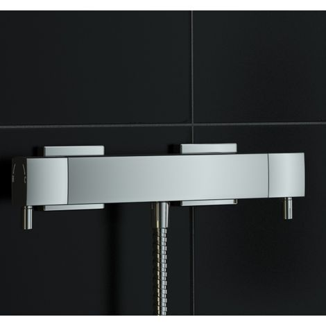Exposed Square Metal Thermostatic Bar Mixer Shower Valve