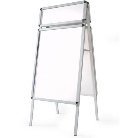 Expositor A1 a doble cara, con panel superior + 4 láminas transparentes protectoras - expositor publicitario plegable, porta carteles DIN A1 con estructura de aluminio, soporte publicitario con esquinas redondeadas - blanco