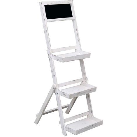 Expositor con pizarra de madera blanco 42x40x120 cm - Blanco