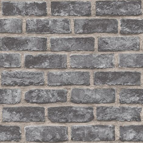 Exposure Brick Effect Grandeco Wallpaper Dark Grey Stone Paste The Wall Vinyl