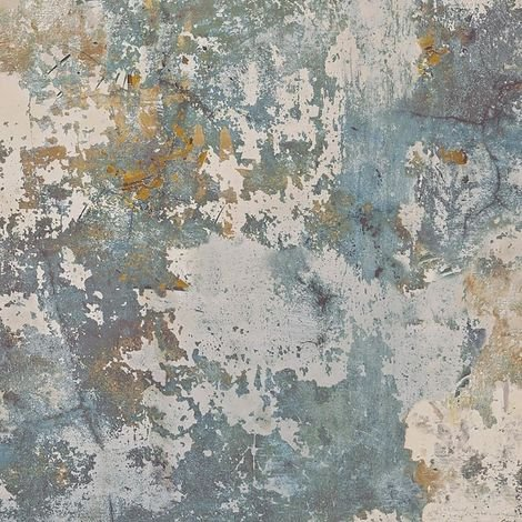 Exposure Rough Concrete Wallpaper Green Blue Beige Industrial Effect Vinyl