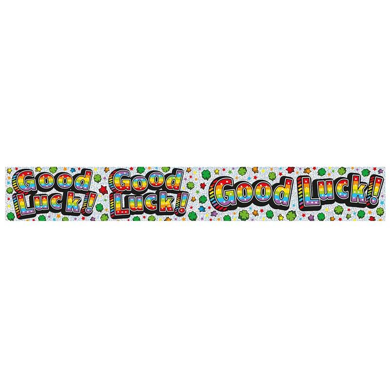 Image of Holo Foil Banner Good Luck (1 banner) (Silver/Rainbow) - Expression Factory