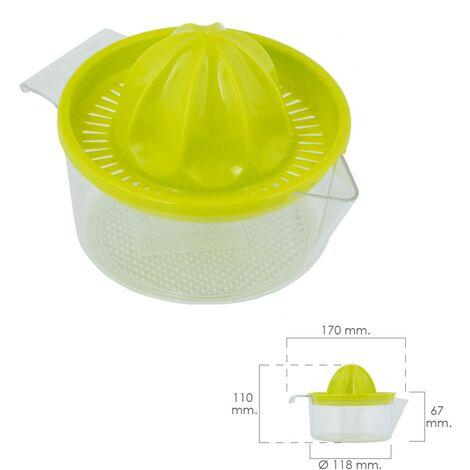 Exprimidor zumo manual frutas con jarra plástico Ø 12 x 11 cm.