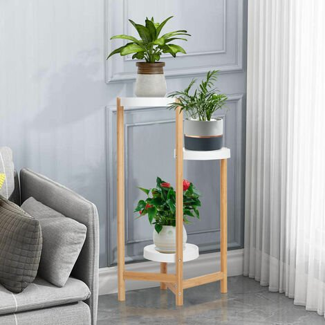 Exquisite Bamboo Tall Corner Plant Stand Clusters Holder Sturdy Tray Rack Indoor