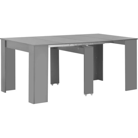 Extendable Dining Table High Gloss Grey 175x90x75 cm