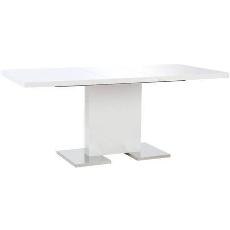 Extendable Dining Table High Gloss White 180x90x76 cm MDF