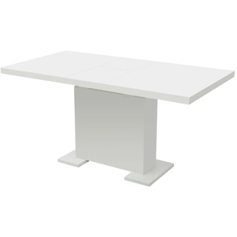 Extendable Dining Table High Gloss White