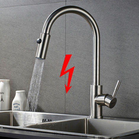 Extendable Low Pressure Kitchen Mixer with Shower, 360 ° Rotating Low Pressure Tap in Stainless Steel 304 Low Pressure Tap Kitchen Tap Kitchen Tap