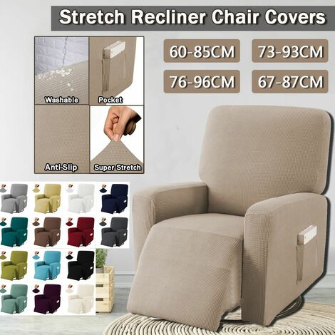 Extendable Recliner Chair Covers Washable Jacquard Fabric Non-Slip Sofa (Coffee)