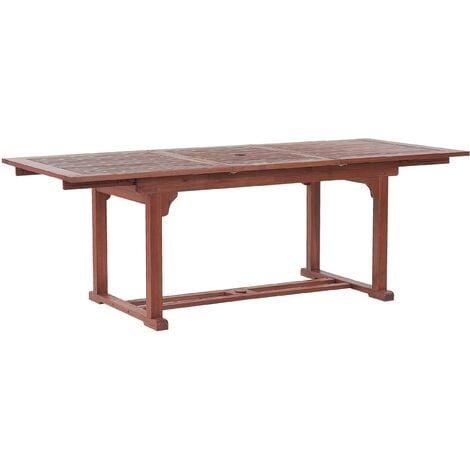 Extending Acacia Garden Dining Table 160/220 x 90 cm Dark Wood TOSCANA