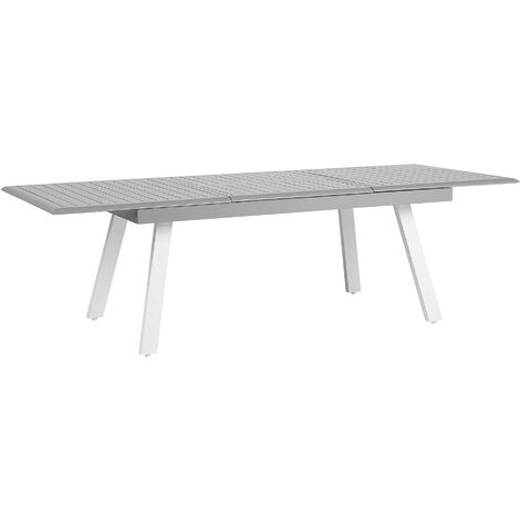Extending Aluminium Garden Table Metal Grey Glossy Slatted Top Outdoor Pereta