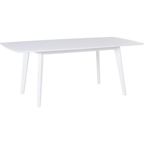 Extending Dining Table 150/195 x 90cm cm White SANFORD
