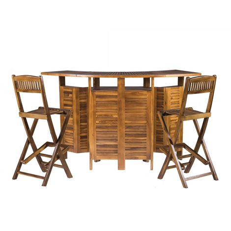 Extending & Folding Outdoor Garden Solid Hardwood Luxury Bar Table with 2 Chairs