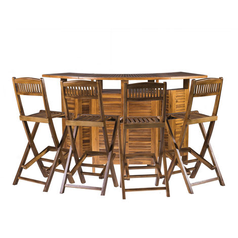 Extending & Folding Outdoor Garden Solid Hardwood Luxury Bar Table with 4 Chairs