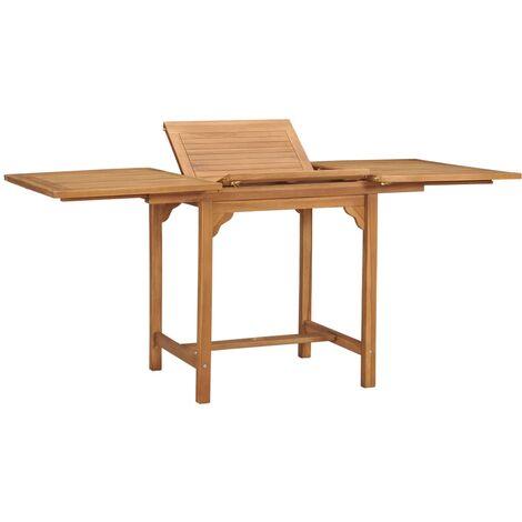 Extending Garden Table (110-160)x80x75cm Solid Teak Wood - Brown