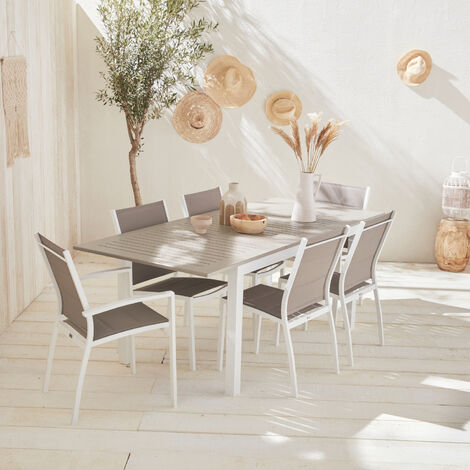 Extending table garden set - Taupe Chicago 210 - 150/210cm aluminium table with extension and 6 textilene chairs