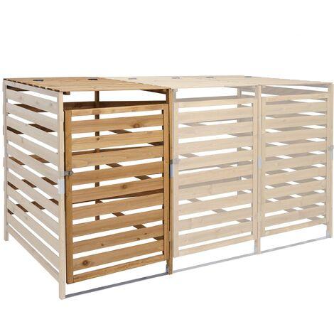 Extension pour abri à poubelles XL pour 1 ou 2 poubelles HHG-714, bois massif 110x65x93cm