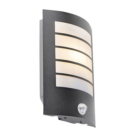 Exterior wall light black IP44 with motion sensor - Miro