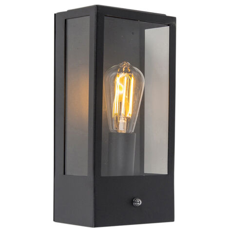 Exterior wall light black with motion detector IP44 - Rotterdam 1
