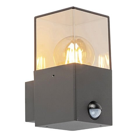 Exterior wall light dark gray with motion detector IP44 - Denmark