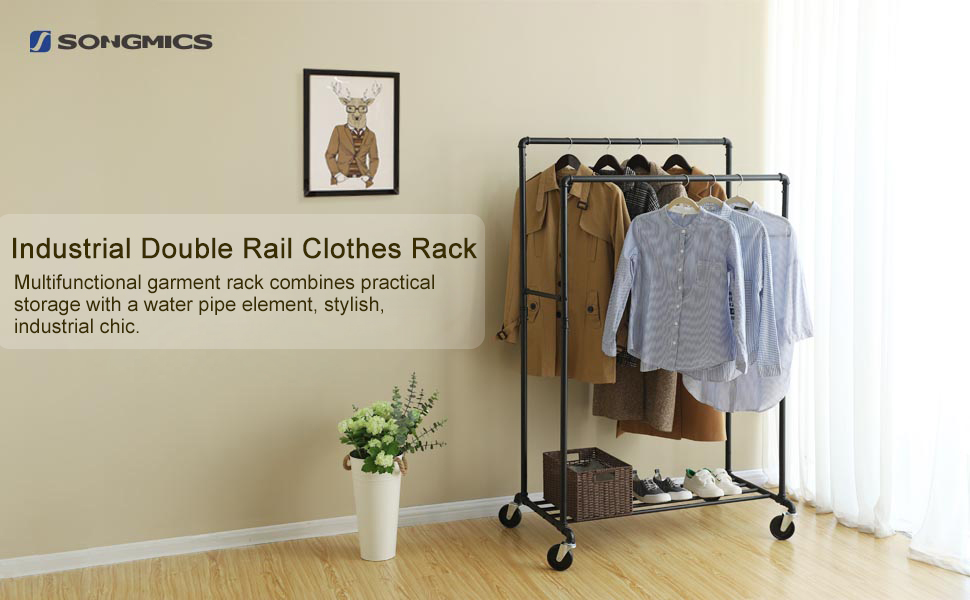 Industrial Double Rail Clothes Rack