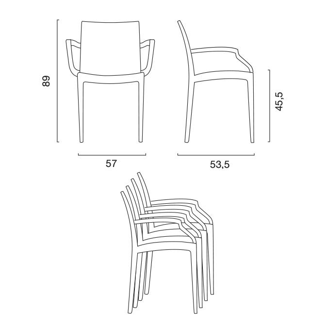 Chaise fauteuil avec accoudoirs bar café restaurants en Polyrattan BISTRO ARM Grand Soleil