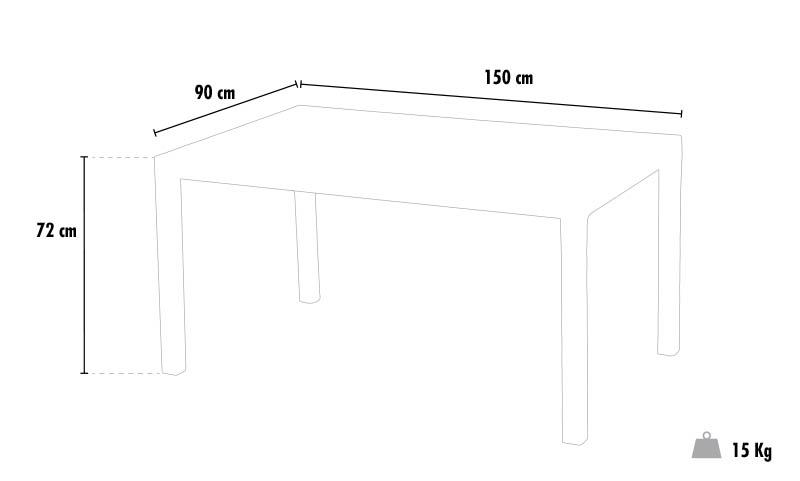 Polyrattan rectangular bar table outdoor plastic 150x90