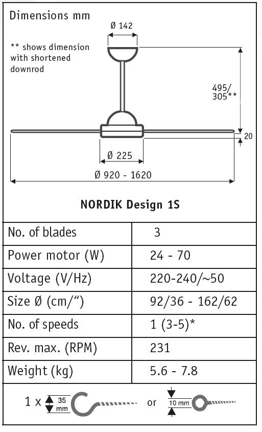 Esquema ventilador de techo Vortice 61160 Nordik Design 1S