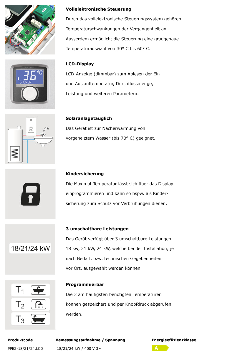 PPE2-18/21/24 kW Durchlauferhitzer