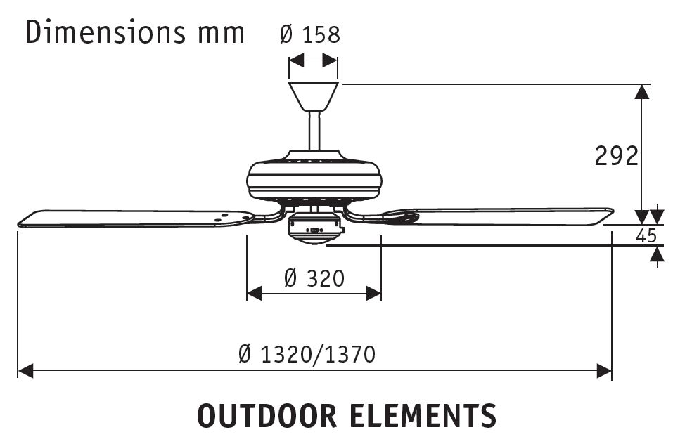 Esquema ventilador de techo Hunter Outdoor Elements 24323