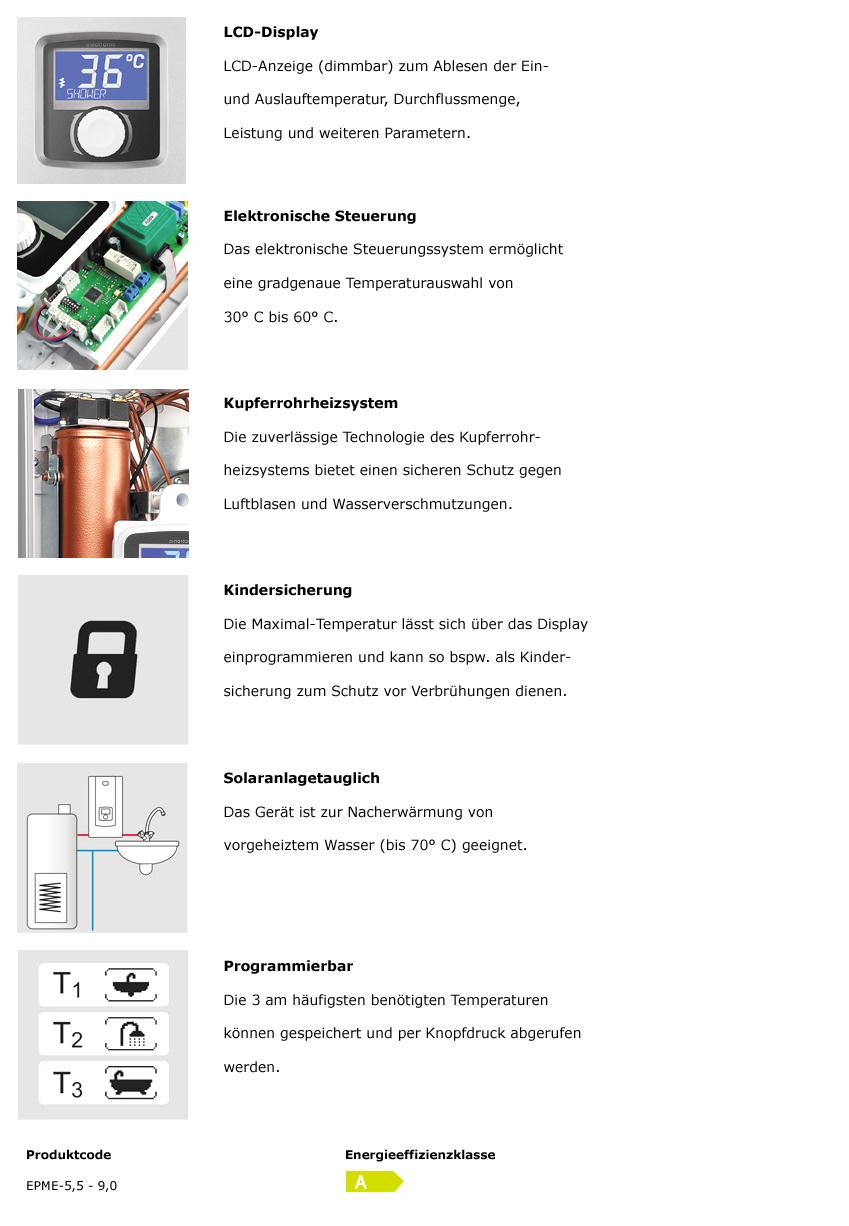 Elektronischer Durchlauferhitzer EPME Kospel 230 Volt