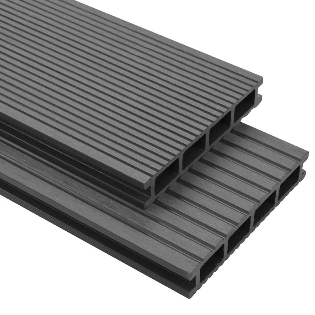 Pavimento A Incastro Per Esterni pavimento per esterni in wpc con accessori 40 m² 2,2 m grigio -