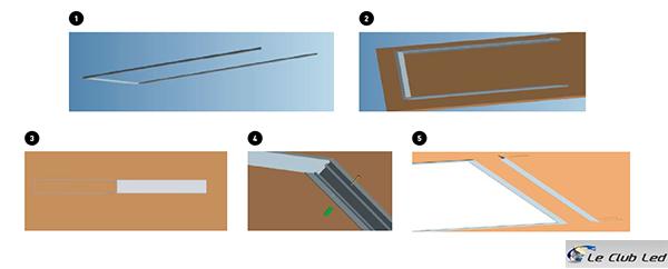 5 étapes d'encastrement d'une dalle LED 1200x300