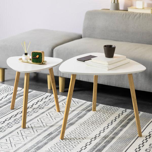 SoBuy Set di 2 Tavolini Bassi da Salotto in Legno di bamb? massello e MDF Tavolino Moderno Bianco FBT74-W