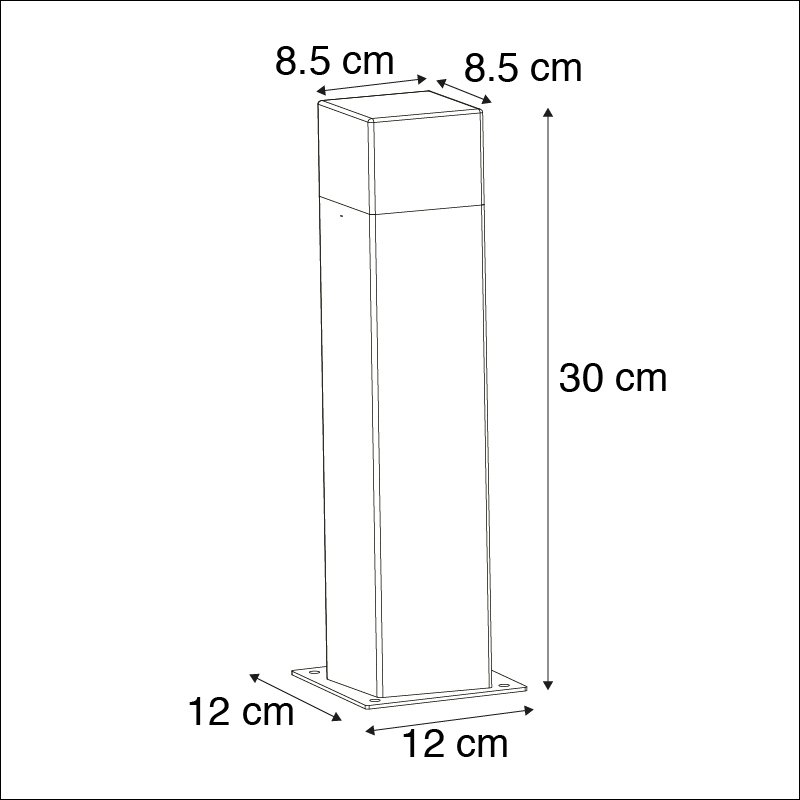 Outdoor Pole 30cm Grey with Ground Pin and Cable Sleeve - Denmark