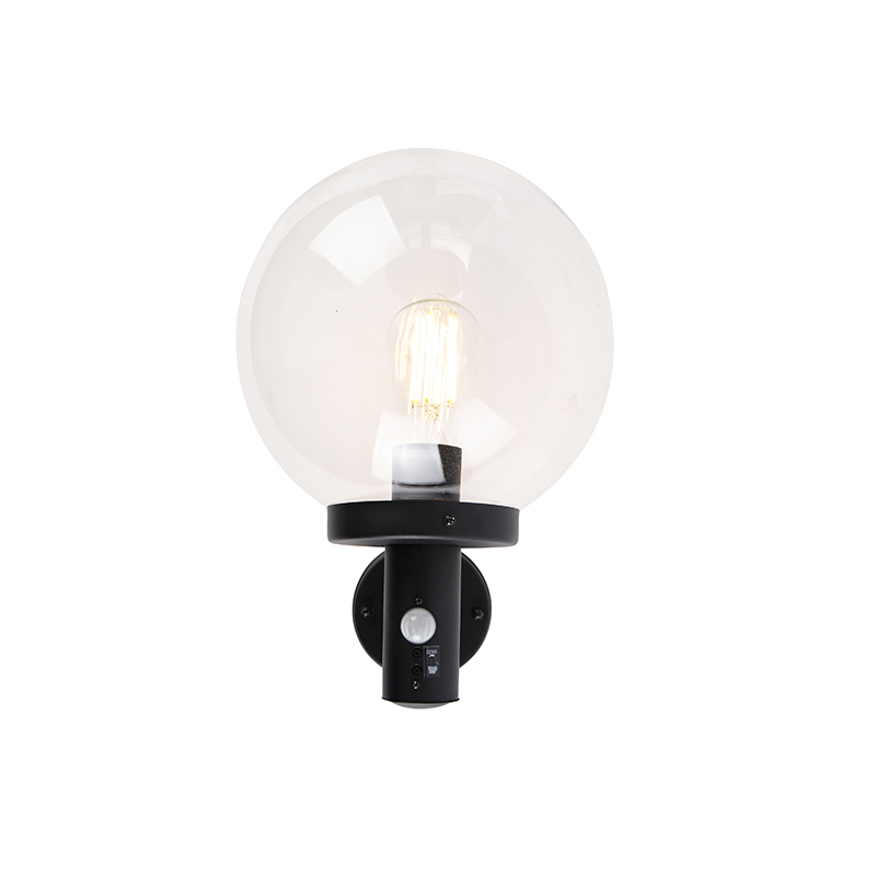 Outdoor wall lamp black with clear glass incl. Motion detector - Sfera