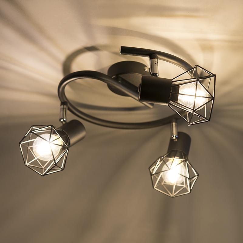 Art Deco Ceiling Spotlight Black - Mosh 3