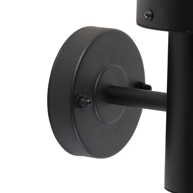 Exterior wall light black with motion sensor IP44 - Gleam