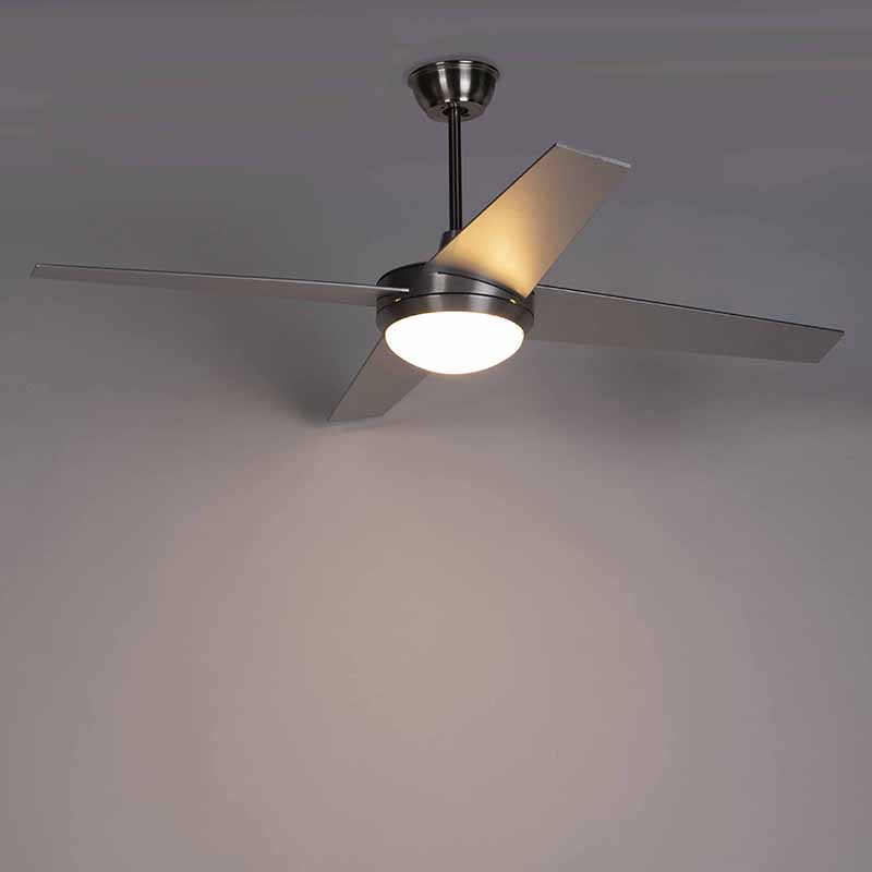 Ceiling fan silver with remote control - Roar 52
